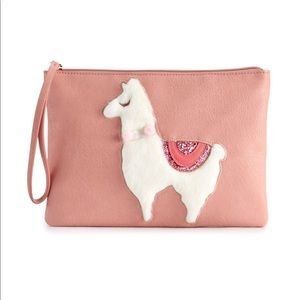 LC Lauren Conrad pink llama wristlet zipper pouch